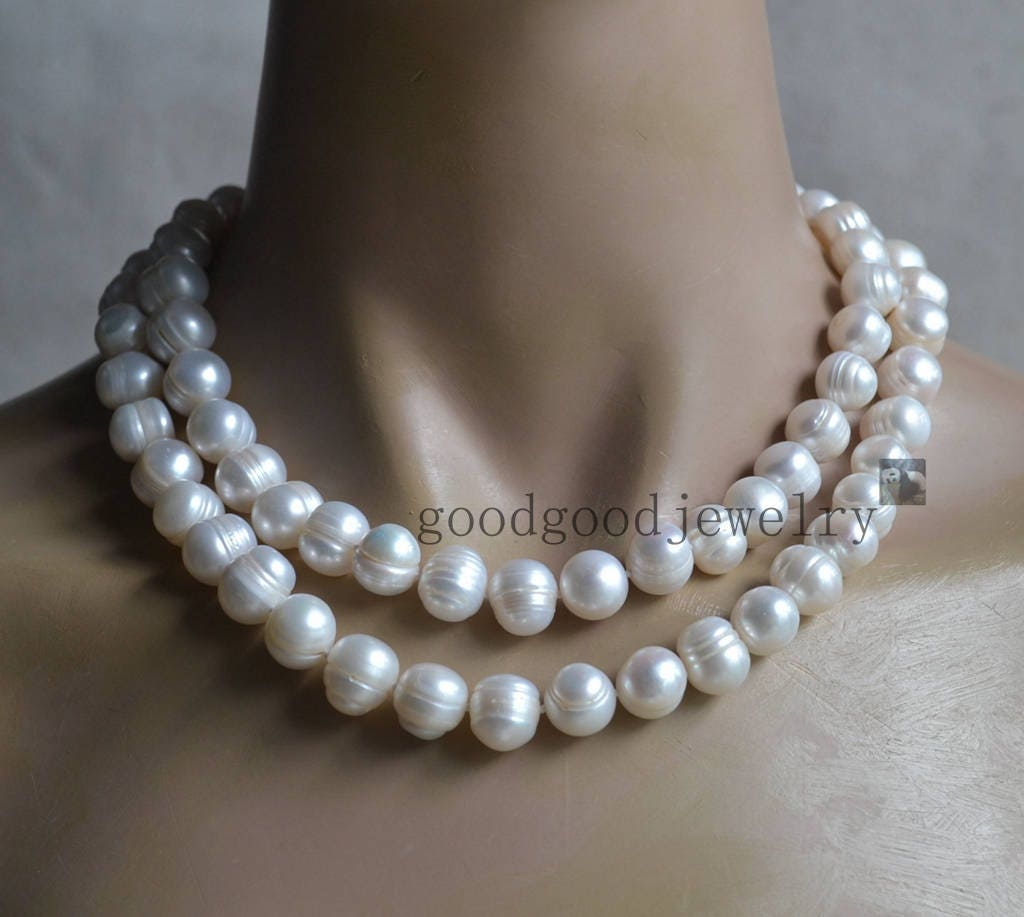 big white Pearl Necklace double strand 11-12 mm Freshwater ...