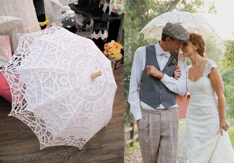 Special Offer Battenburg Lace Vintage Umbrella Parasol For image 0