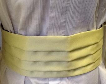 Genuine Vintage 70s Men's Pale Yellow Satin Cummerbund