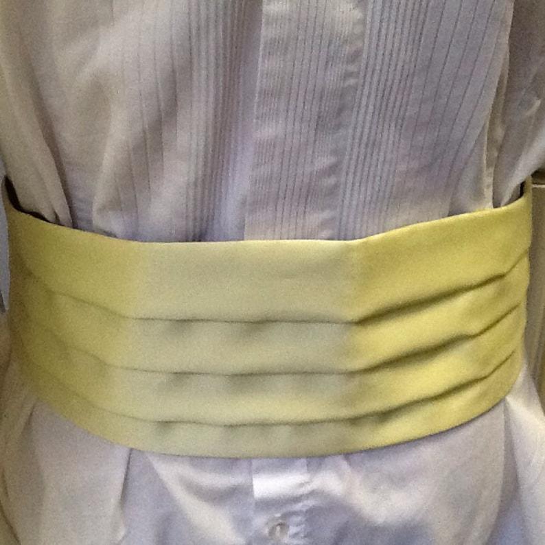 Genuine Vintage 70s Men's Pale Yellow Satin Cummerbund image 0