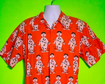 Vintage Late 90s Mens Operation Game Novelty Button Down Shirt Summer Size Large
