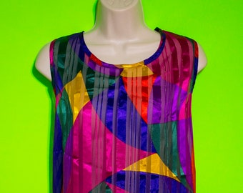 Vintage 90s Womens Sleeveless Abstract Pattern Top Summer Casual Formal Size Large