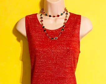 Vintage 90s Womens Red Metallic Silver Glitter Dress