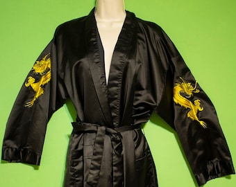Vintage 90s Unisex Mens Womens Black Satin Chinese Embroidered Dragon Gothic Robe Spa Summer Casual