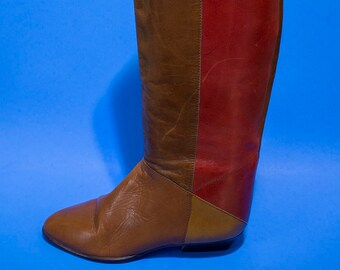 Vintage 70s Womens Brown Red Leather Boho Riding Boots Size 8