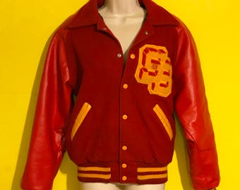 Vintage 80s Unisex Adult Letter Jacket Size Small Hipster Retro