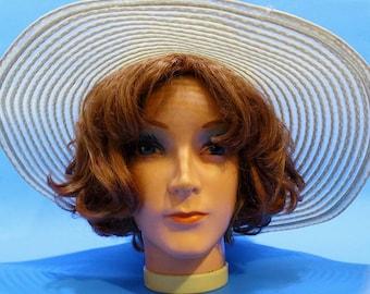 Vintage 90s Womens Boho Beach Sun Hat Floppy Accessories Cream Color Folk Hipster Gypsy