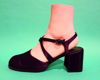 Vintage 90s Womens Criss Cross Purple Satin Pumps Size 7.5 Formal Gothic