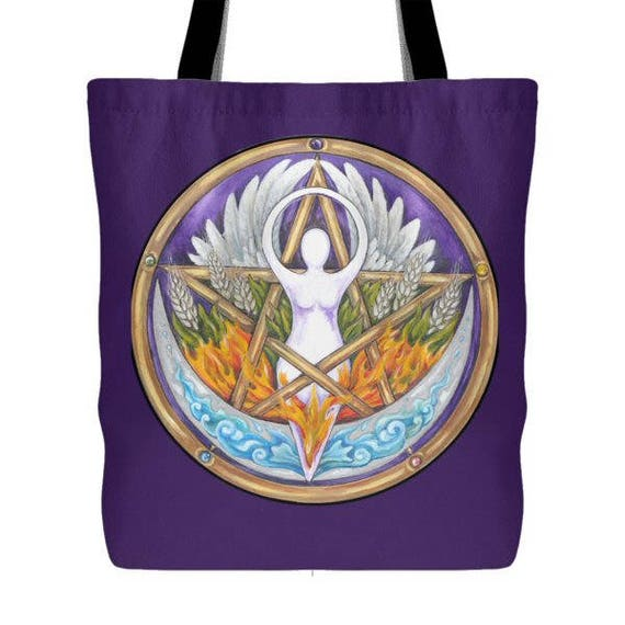 New Pentacle with Goddess Cotton Tote Bag Hand Made in India