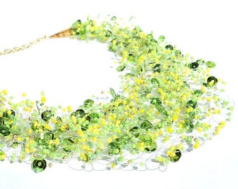Fashion Necklace, Yellow and Green Necklace, Beaded Jewelry, Multistrand Jewellery, Unique Jewellery, Spring Summer find, Gift for her