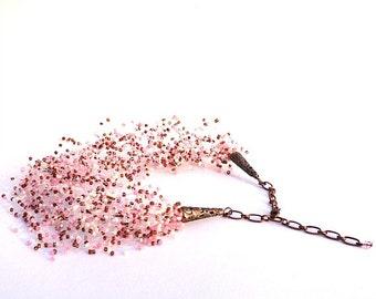 Cherry Blossom Necklace Beaded Cream Blush Pink Mocha Seed Bead Jewelry Wedding Jewellery Bridal gift
