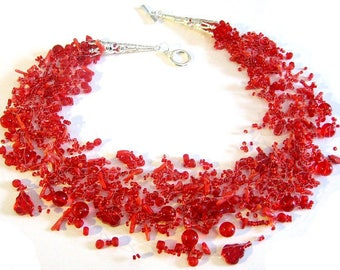 Red necklace, Unique design jewelry, Trending now, Coral jewelry, Statement jewllery, Multistrand fashion jewellery, Gift for women, Bridal