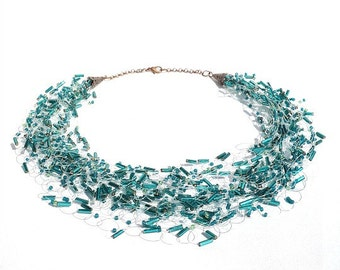 Emerald and Teal Necklace, Beaded Wedding Jewelry, Bridal Jewellery