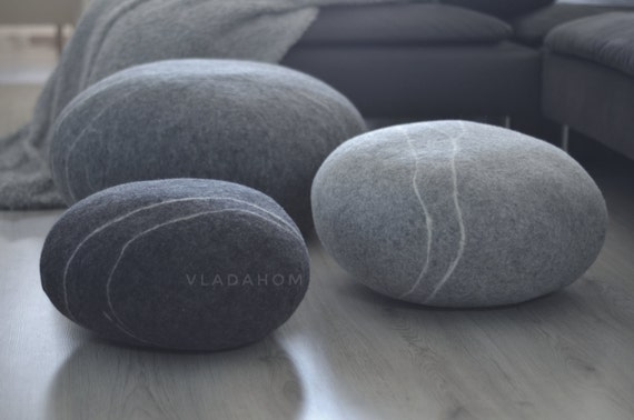Felted wool stone Floor cushions Pouf Floor pillows