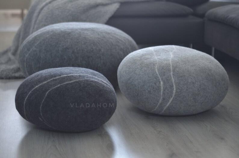 Felted Wool Stone Pouf Floor Cushions Decorative Pebble Etsy