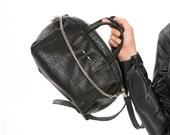 Black Leather Tote Bag, Leather Designer Handbag, Everyday Utility Chic Fashion Purse, Trendy Carryall with Removeable Straps