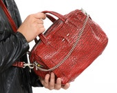 Red Leather Bag, Leather Designer Handbag, Chic Purse for day and night, Trendy Carryall with Removeable Straps