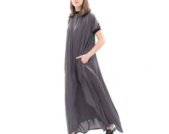 f60c0a32133 Gray Silky flowing maxi dress