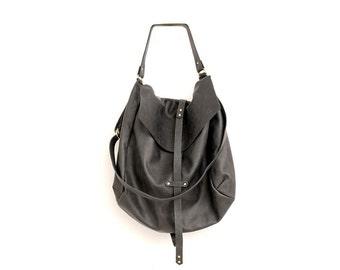 Large Black Leather Hobo Bag for Women, Handmade Slouchy Oversized Purse with silver Hardware, Designer Over the Shoulder Carryall Handbag