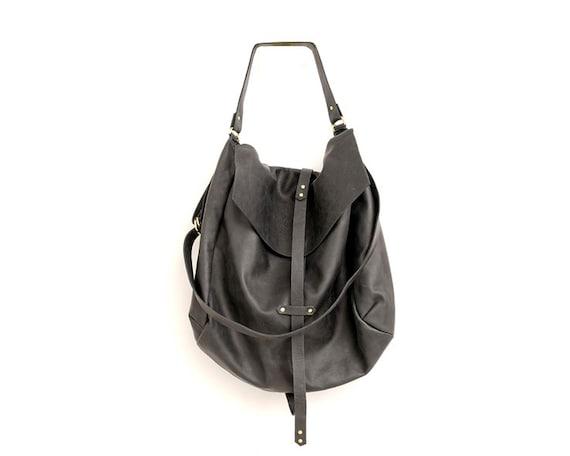 3b4f3d078ed Large Black Leather Hobo Bag for Women Handmade Slouchy   Etsy