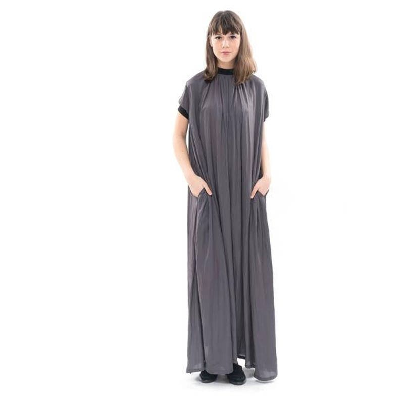 11e2928903f Gray Silky flowing maxi dress