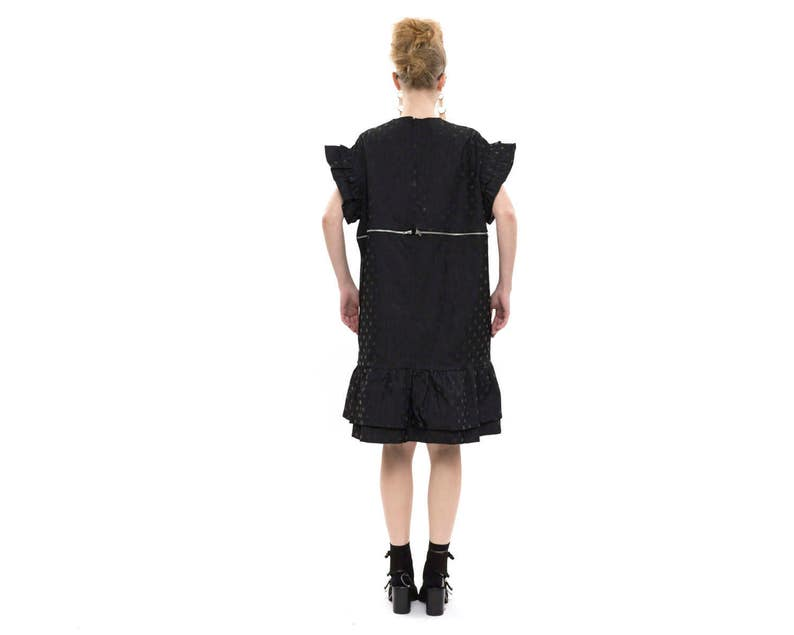 T-Shirt Dress with Short Sleeves and Pockets for Day or Evening Polka Dot Dress Dress with Ruffle edges