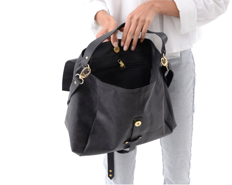 Soft Black Leather Bag Boho Style Leather Hobo Handbag  ab739a65a1912
