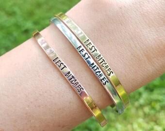 Best Bitches Bracelet or Bracelets, Best Friend Bracelet or Bracelets, Cuss Word Bracelet, Profanity Bracelet, Skinny Stacking Cuff