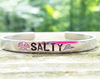 Salty Bracelet, Wave Bracelet, Ocean Bracelet, Beach Bracelet, Hand Stamped Bracelet, Hand Stamped Cuff, Beach Jewelry