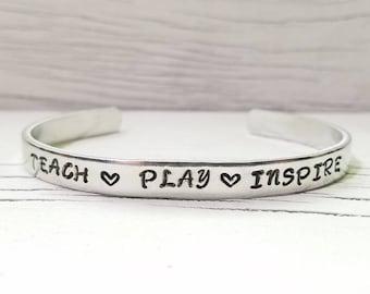 Teacher Bracelet, Teacher Jewelry, Teach Play Inspire, Hand Stamped Bracelet