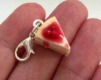 Polymer Clay Charm - Cherry Cheesecake  Miniature Food Jewelry Jewellery Cake Slice Cheese cake