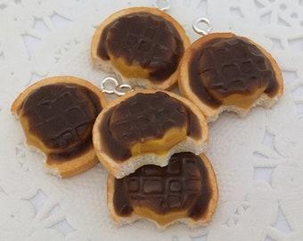 Polymer Clay Charm - Jaffa Cakes Chocolate Orange Biscuit Cookie Charms Miniature Food Jewelry Jewellery