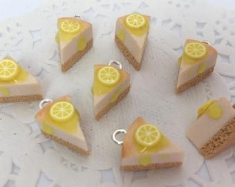 Polymer Clay Charm - Lemon Cheesecake  Miniature Food Jewelry Jewellery Cake Slice Cheese cake Bracelet Charm Bag Charm Planner Charm