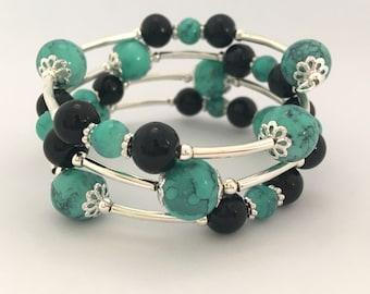Memory Wire Bracelet - Teal Turquoise & Black Wrap Bracelet Gift Idea Women's Gift Girls Beaded Bracelet Boho Pearl Chunky Boho