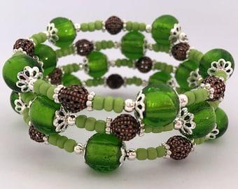 Memory Wire Bracelet - Lime Green & Copper Wrap Bracelet Gift Idea Women's Gift Girls Beaded Bracelet Boho Pearl Earthy Chunky Boho