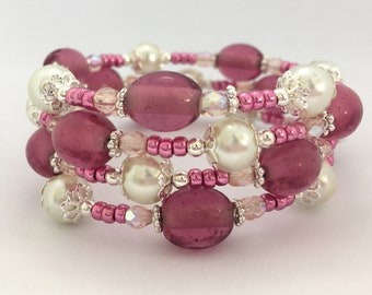 Memory Wire Bracelet - Pink & Ivory Cream Wrap Bracelet Gift Idea Women's Gift Girls Beaded Bracelet Boho Pearl Summer Chunky Boho