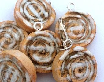 Polymer Clay Charm - Cinnamon Rolls Buns  Miniature Food Jewellery Food Charms