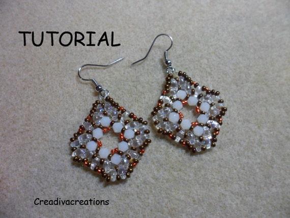 Duo Bead Earrings Pattern Beaded Pendant Pdf Pattern Etsy