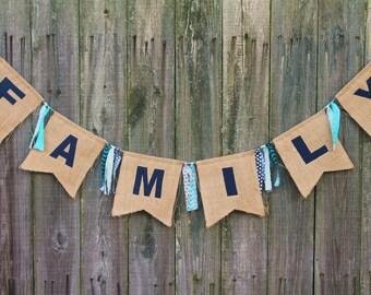Family Banner, Burlap Family Banner, Custom Banner for Family Photo Shoot, Family Photo Prop