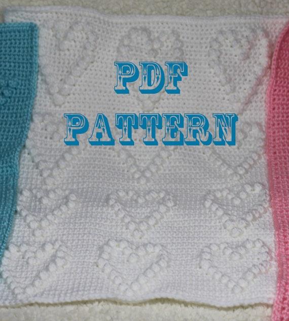 Crochet Pattern - Crochet Hearts Baby Blanket  - Baby Snuggle Blanket  - Car Seat or Stroller  Blanket Pattern