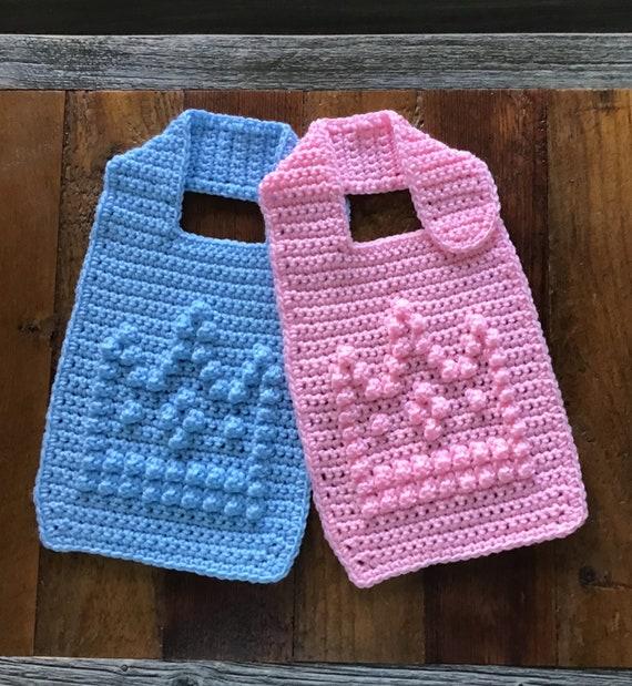 Baby Bib with Bobble Stitch Crown Crochet Pattern - Baby Bib - Bobble Bib