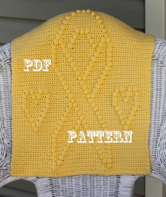 Crochet Pattern - Crochet Blanket Block  - Yellow Ribbon and Hearts - Support the Troops