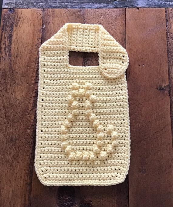 Baby Bib with Bobble Stitch Kitty Crochet Pattern - Baby Bib - Bobble Bib - Kitty Bib