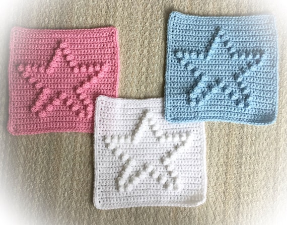 "Star Square Blanket Pattern -  9"" x 9"" blocks - Size Chart from Baby to Adult blankets or afghans"