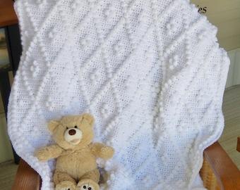 Diamonds and Bobbles Crochet Baby Blanket Pattern - Baby Blanket Pattern