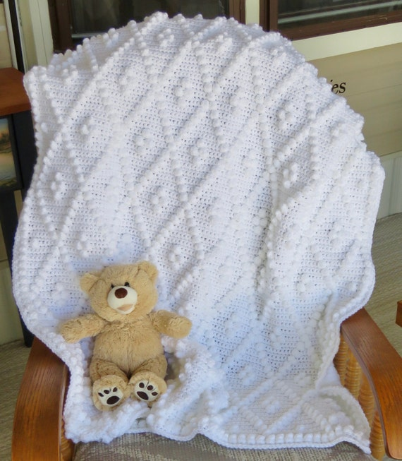 Diamonds and Bobbles Crochet Baby Blanket Pattern - Baby Blanket Pattern