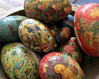 Collection 11 Paper Mache German Candy Containers Easter  Xtra large and Small