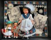 Bavarian Diorama with Dolls Pins Bracelet Edelweiss Postcards