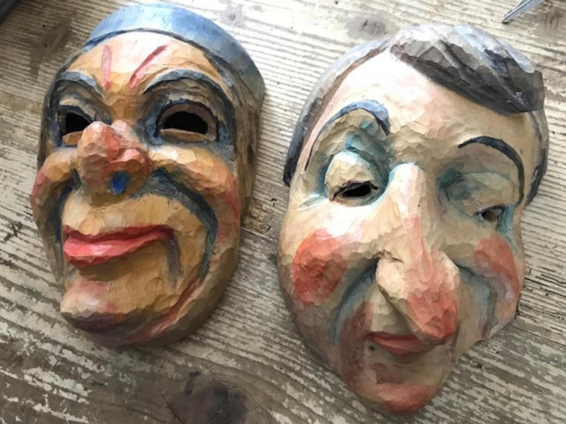 Pair Wood Carved Masks