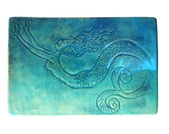 Mermaid Tray for Cheese, Sushi, Hors d'oeuvres, Handmade Stoneware with Blue Celadon Glaze, Food Safe, Dishwasher, Microwave and Oven Safe